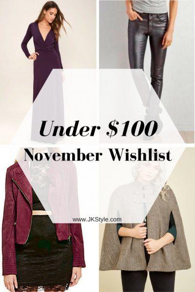 Under $100 November Wishlist pin