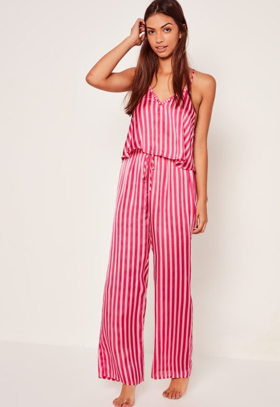 Stylish Sleepwear Trim Detail Striped Pyjama Set