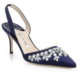 Top 5 on ShopStyle in December Manolo Blahnik Carolyne Crystal-Embellished Satin Slingbacks
