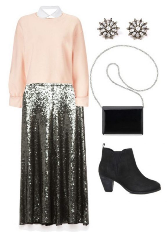 how to style a sequin skirt in five different ways including a preppy version!