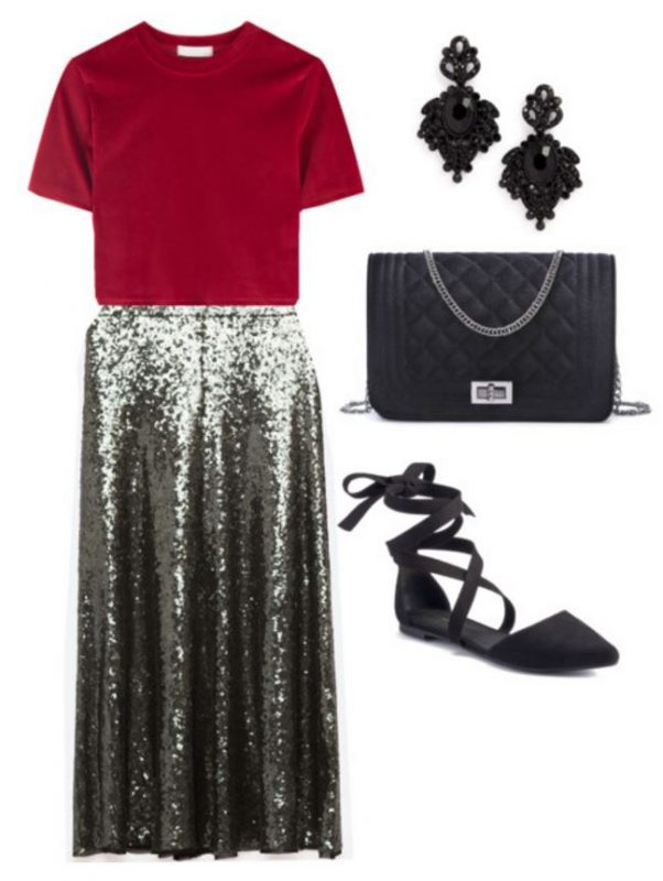 How to Style a sequin skirt - ballet flats and a bold top look brilliant!