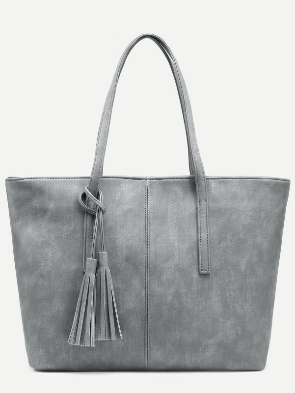 Thrifty Thursday Stylish Finds Under $25 Grey Distressed Tassel Trim Tote Bag