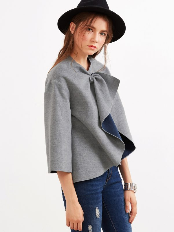 Thrifty Thursday Stylish Finds Under $25 Grey Knotted Collar Kimono Sleeve Double Face Coat