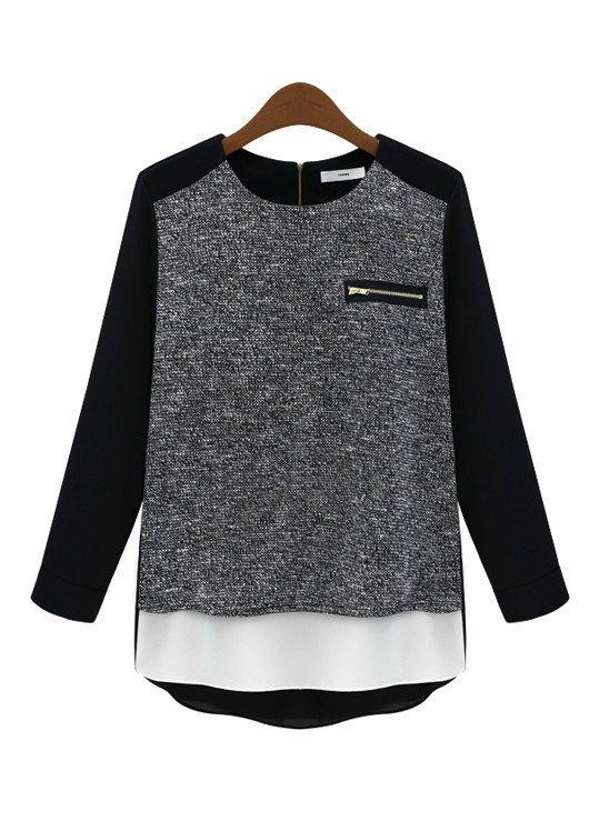 Goodnight Macaroon Favorites Under $50 Black Raglan Chiffon Jersey Blouse