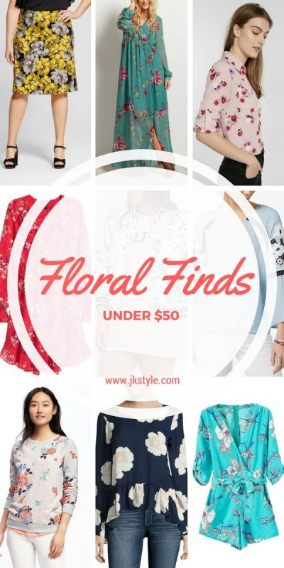 Sharing some fabulous floral finds on JK Style, all under $50! Perfect spring style that you can afford!