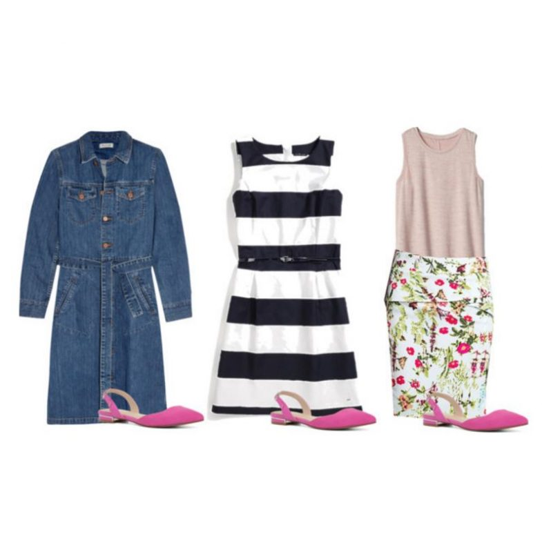 Some great ideas on how to wear pink flats, including these fun dresses and skirts!