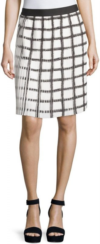 Spring Skirts Under $40 Max Studio Check Pleated A-Line Skirt