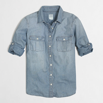 May Trend Watch J Crew Classic Chambray Shirt in Perfect Fit