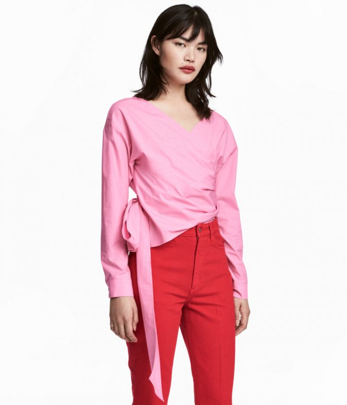 pink wrapover blouse from H&M under $50