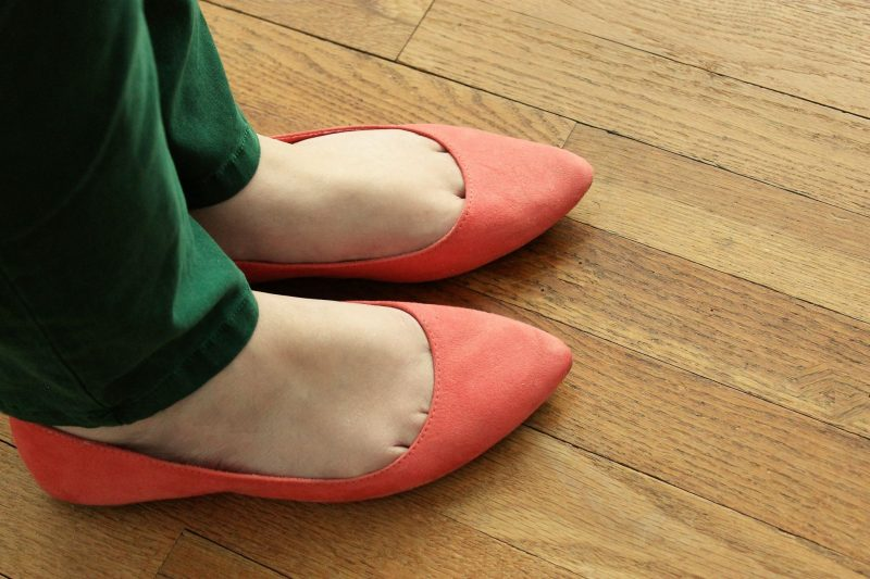 coral flats featuring Dr. Scholl's Stylish Step insoles