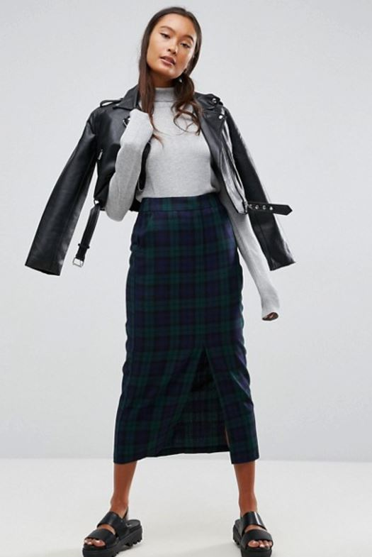 plaid check pencil skirt from ASOS - JK Style