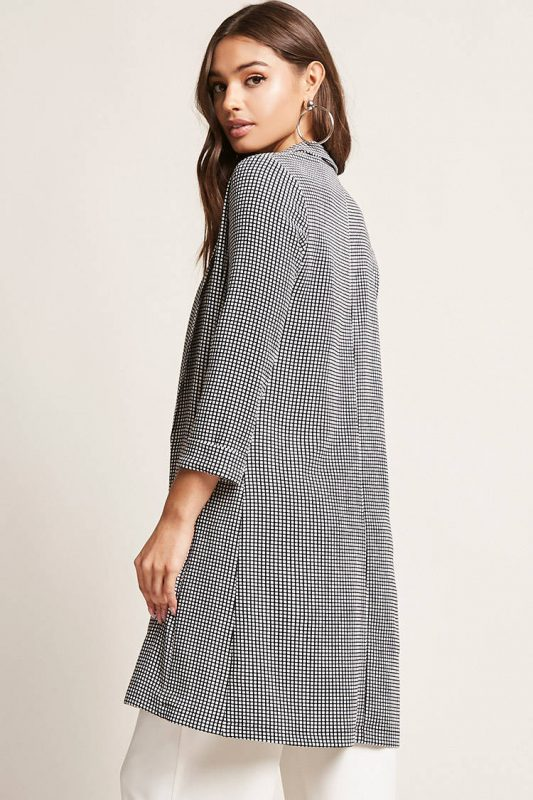 longline grid blazer - shopping Forever 21 when you're not 21 - JK Style
