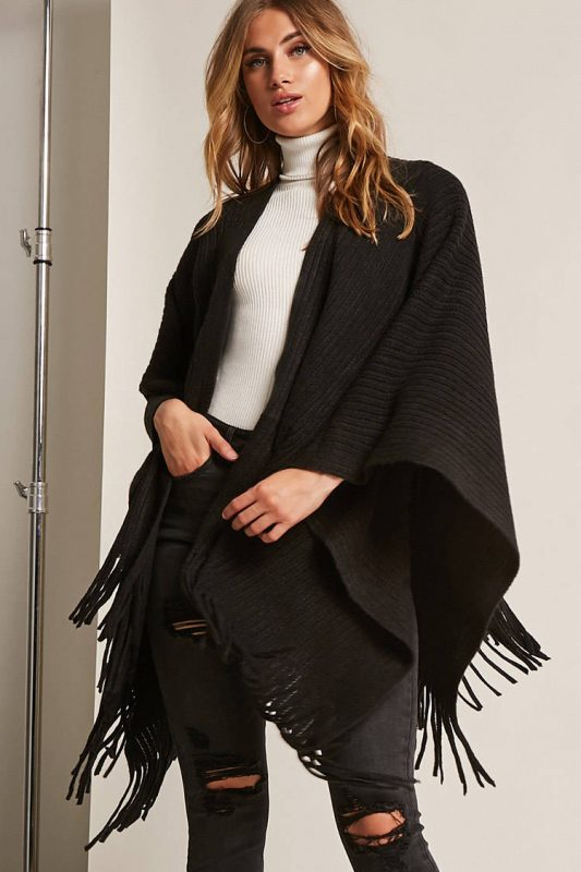 May Logan ribbed knit fringe poncho - shopping Forever 21 when you're not 21