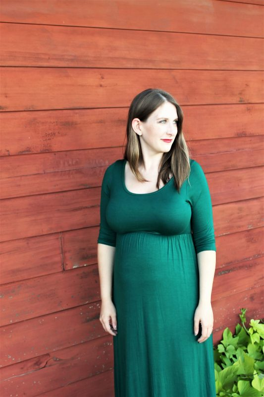 Green 3/4 sleeve maternity dress from PinkBlush - JK Style