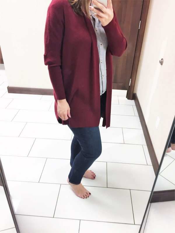 burgundy cardigan outfit from Versona - JK Style