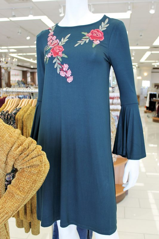 Embroidered floral bell sleeve dress at Versona - JK Style