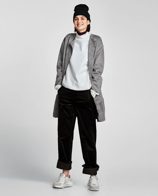 Zara faux suede contrasting coat