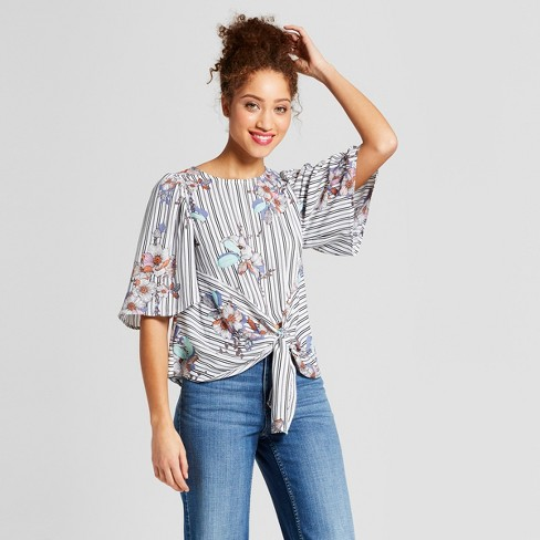 Target - striped tie front top