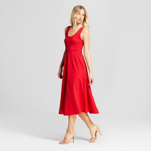 Red Who What Wear Flowy Tank Midi Dress - JK Style