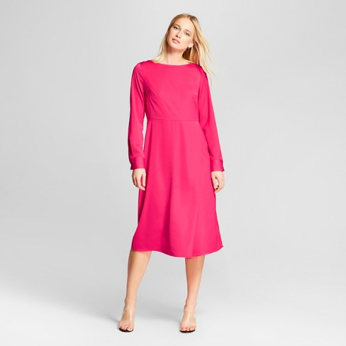 Target shopping - Pink Who What Wear Long Sleeve Midi Dress - JK Style