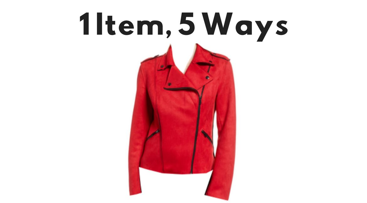 how to style red moto jacket