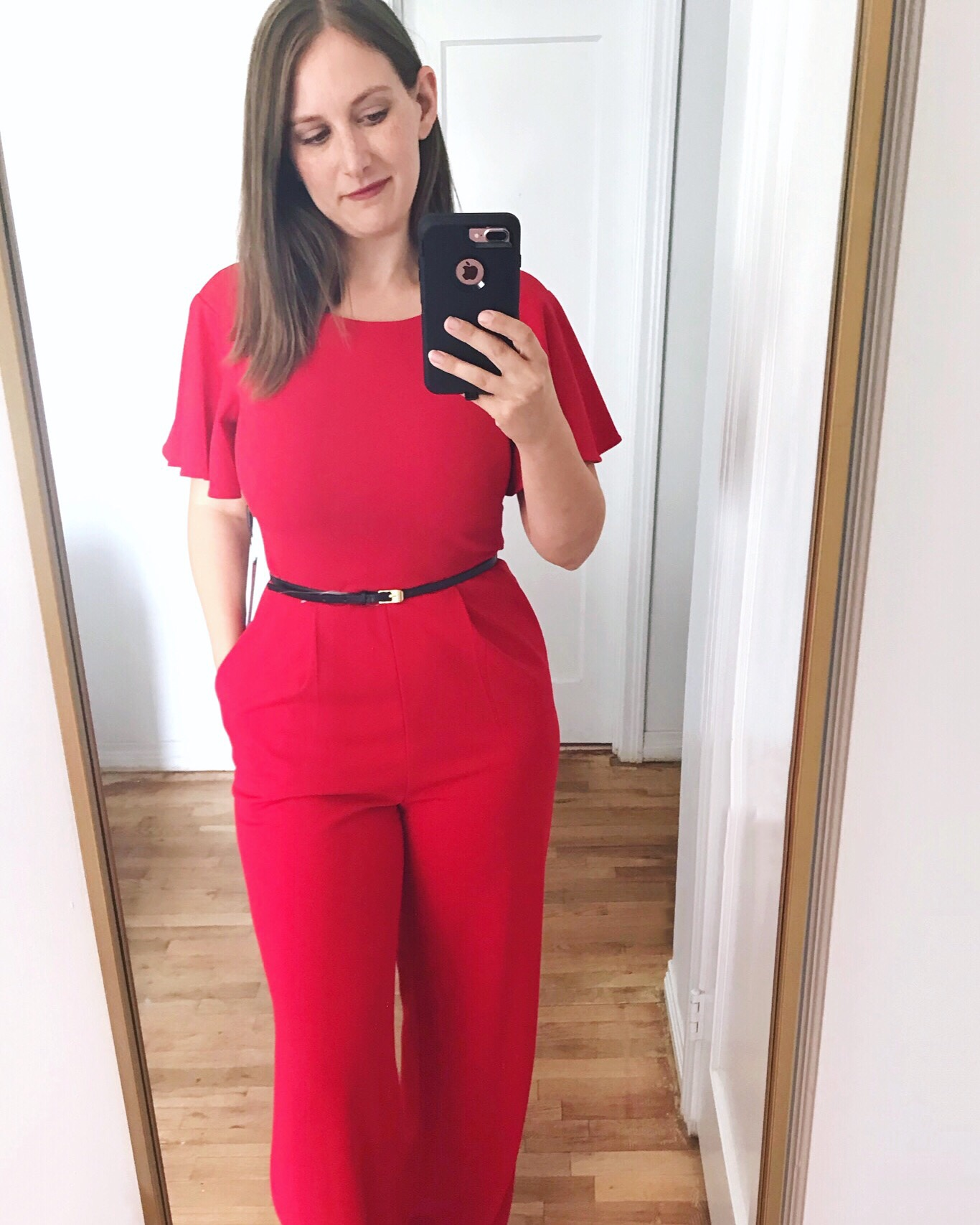 red Calvin Klein jumpsuit - What I Wore in September - JK Style