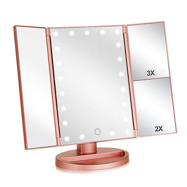 Tri-Fold Lighted Vanity Makeup Mirror