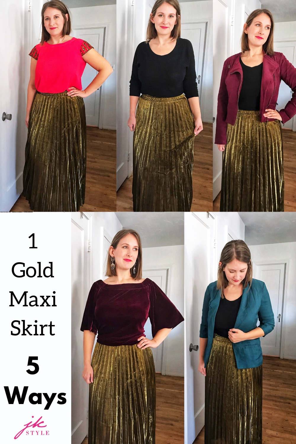 How to style a gold pleated maxi skirt in five different ways - JK Style