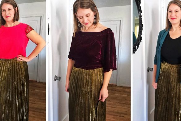 gold pleated maxi skirt styling - JK Style