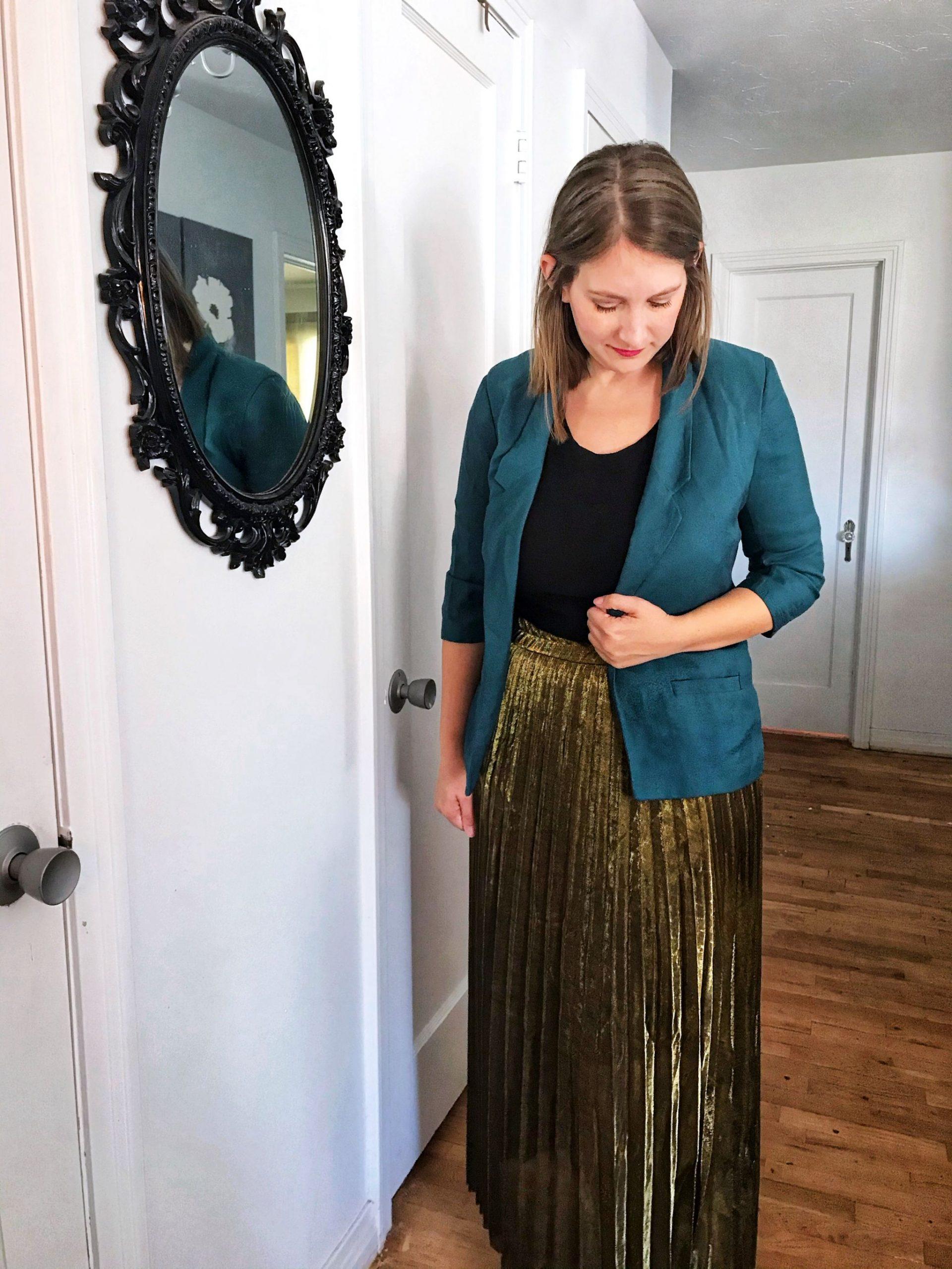 gold maxi skirt styling - JK Style
