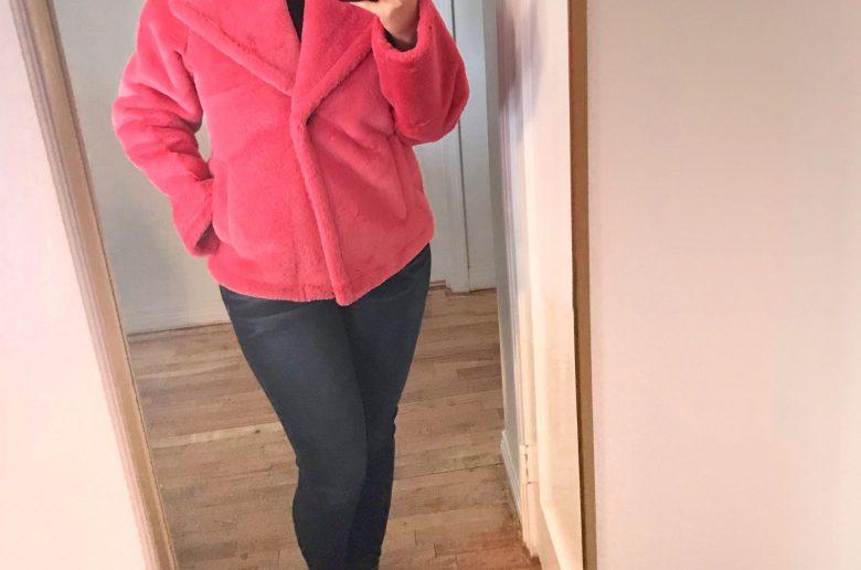 furry pink coat - JK Style