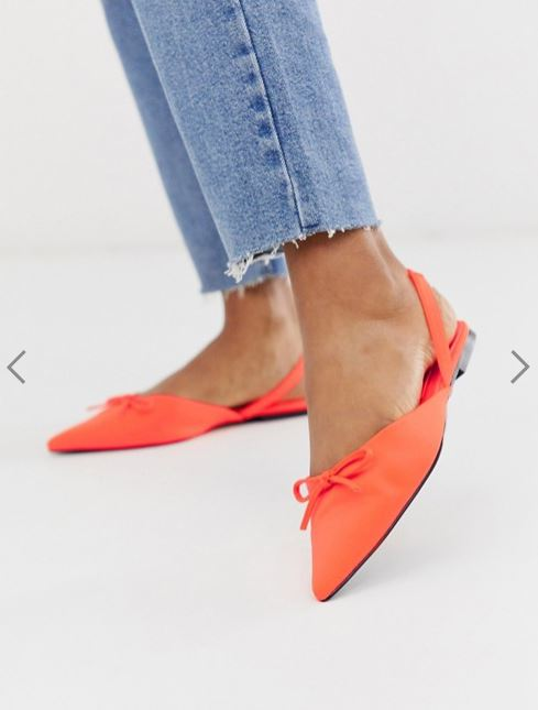 Neon Orange Ballet Flats