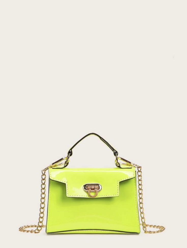 Neon Green Metal Lock Satchel Bag