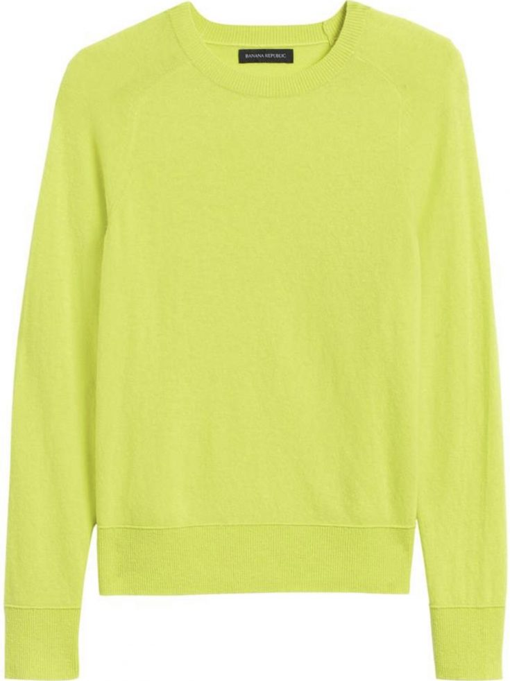 Neon Yellow Italian Merino-Blend Crew-Neck Sweater
