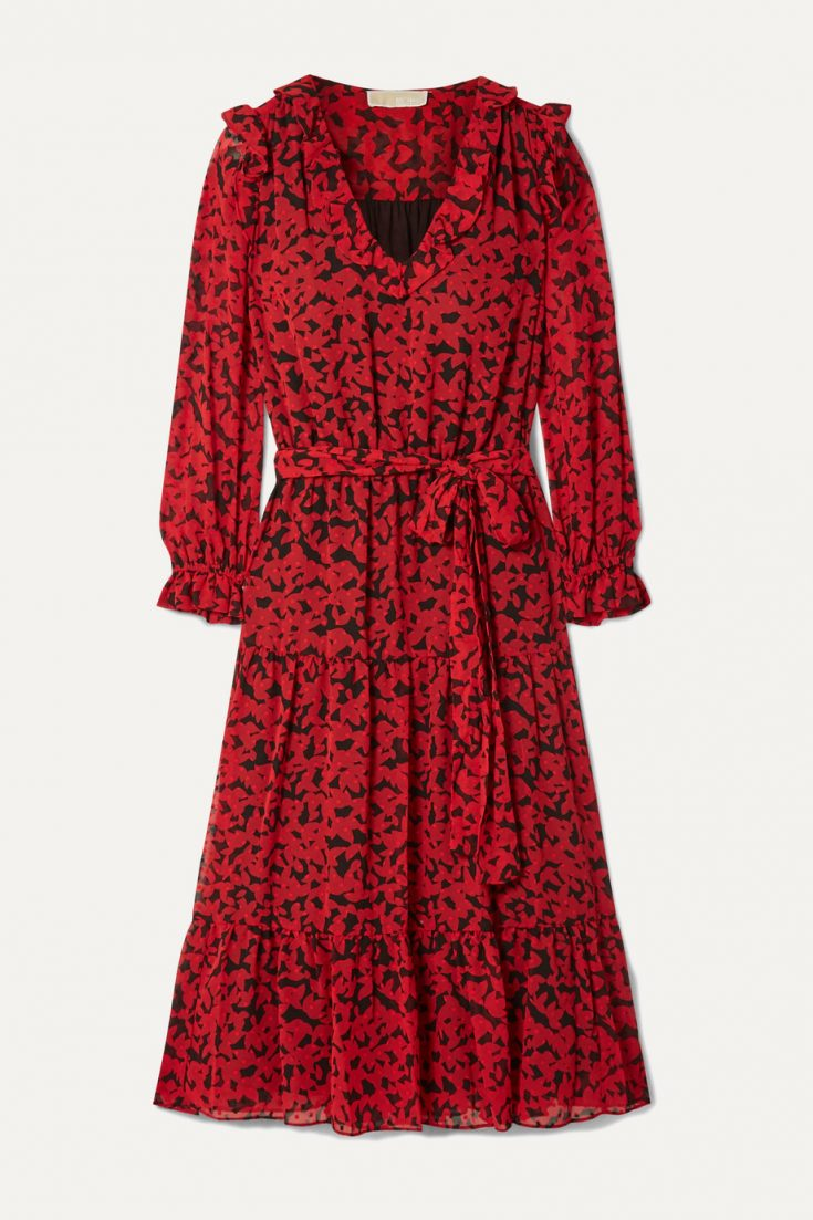 MICHAEL Michael Kors Belted Printed Fil Coupe Georgette Midi Dress - Red