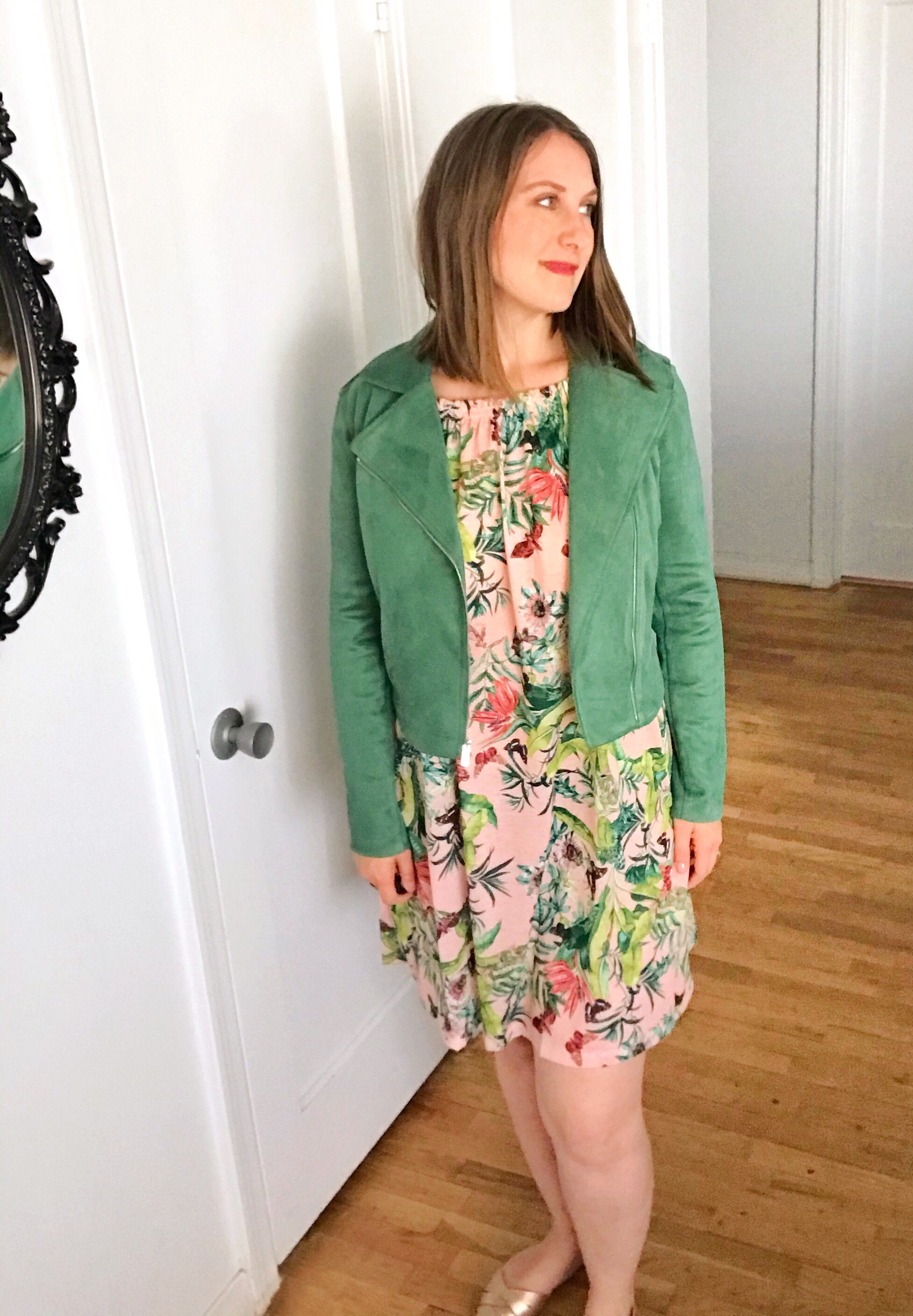 how to style a green moto jacket