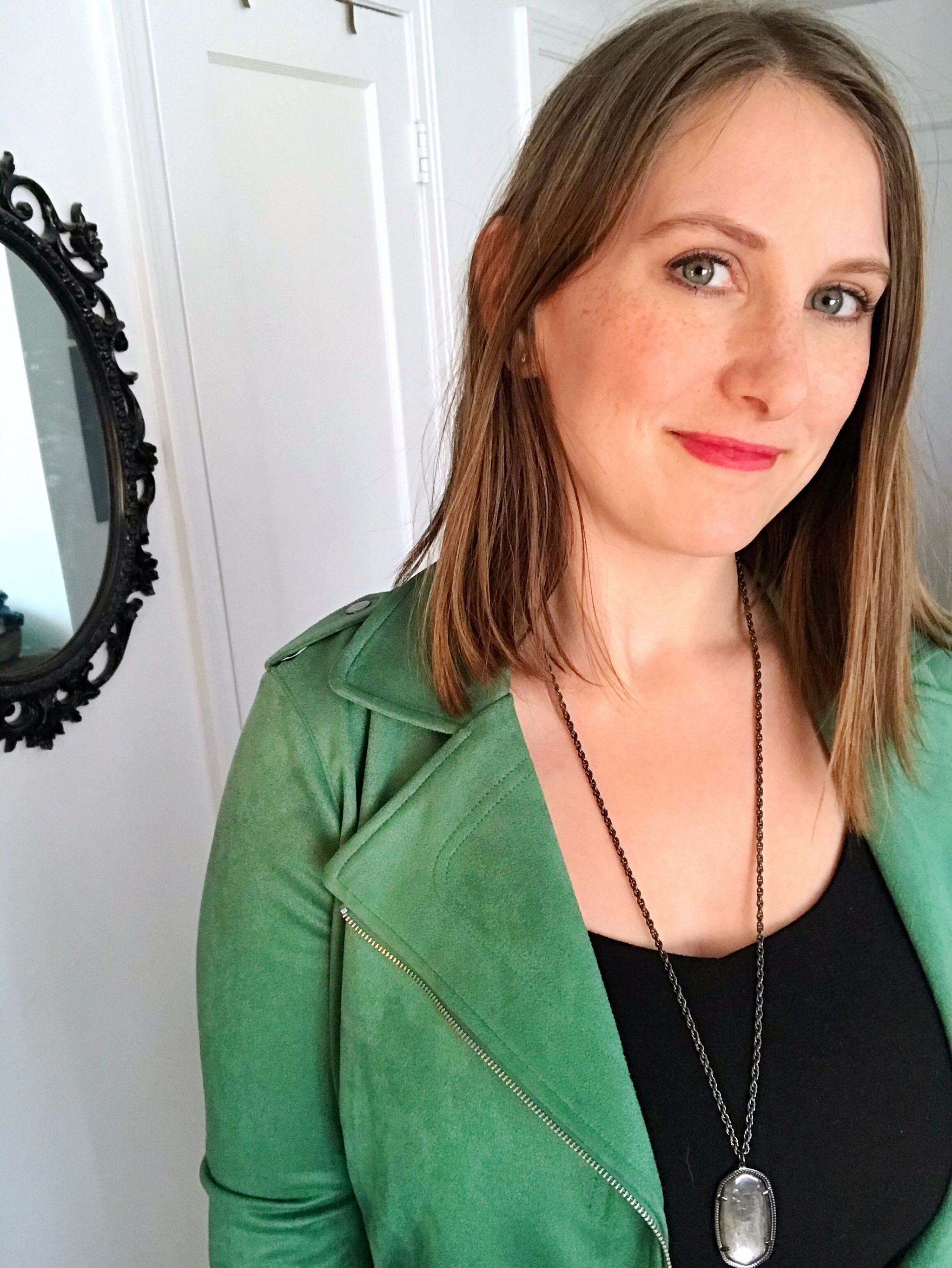 green moto jacket styling
