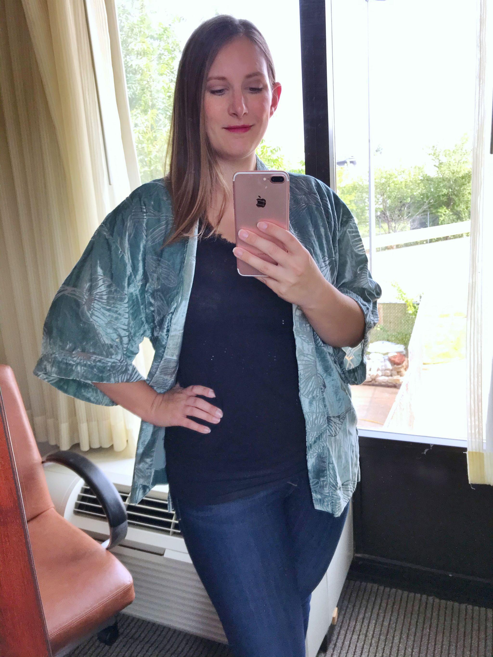 A New Day Floral Print Velvet Burnout Kimono Jacket