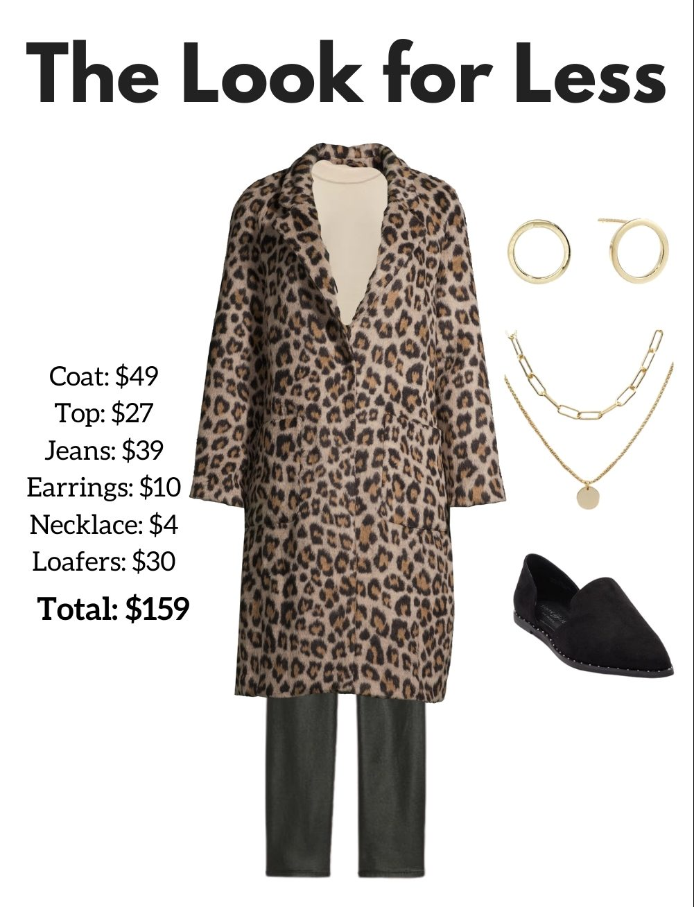 the look for less: affordable leopard coat outfit